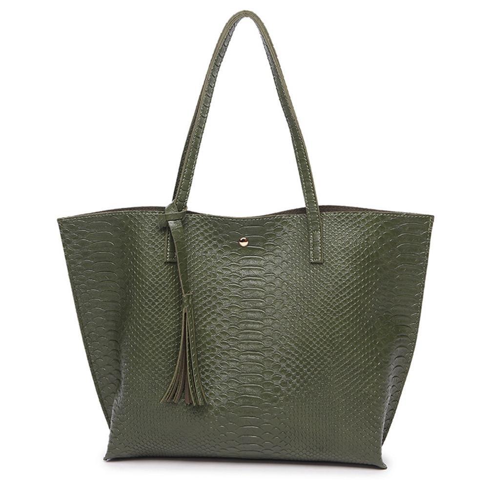 SanCanSn Messenger Bag Woman Casual Bags Women Leather Tassel Handbag Alligator Pattern Shoulder Bag (1PC, Green)