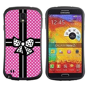 "Hypernova Slim Fit Dual Barniz Protector Caso Case Funda Para Samsung Note 3 [Paquete lunar rosado Negro Bowtie""]"