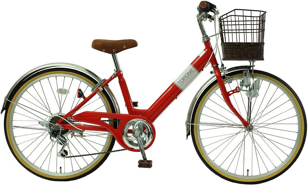 子供用自転車 24インチ シマノ6段変速 ステンレス泥除け 男の子 女の子 シティサイクル キッズバイク ジュニアサイクル NV246-RD レッド B018HKI510
