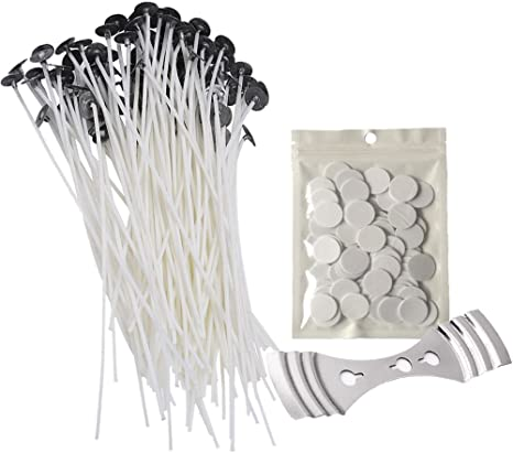 Homankit 100 Piece Cotton Candle Wicks 8 Inch Pre-Waxed Candle Wick for Candle Making DIY