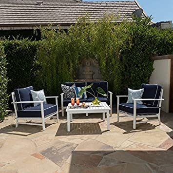 Christopher Knight Home Samana Outdoor 4 Piece Aluminum Chat Set With  Cushions