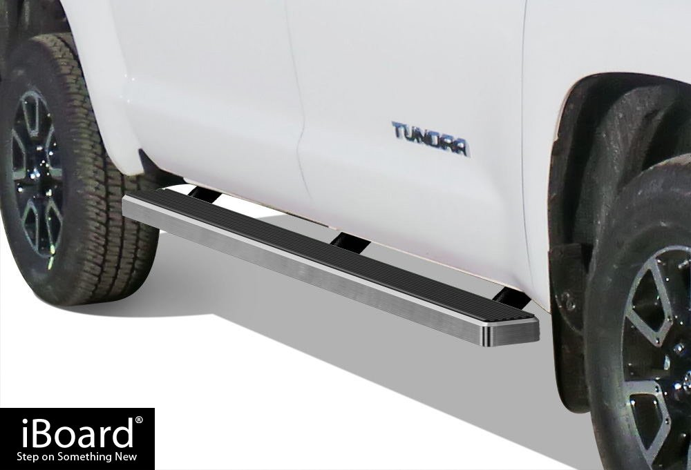 APS IBTY5901 Silver 4' Running Board Side Step (iBoard Third Generation Selected Toyota Tundra CrewMax Cab, Aluminum)