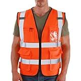 Dib Safety Vest Reflective ANSI Class 2, High Visibility Vest with Pockets and Zipper, Construction Work Vest Hi Vis…
