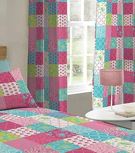 Multi Pink Floral Patchwork Eyelet Curtains 72s Turner Bianca