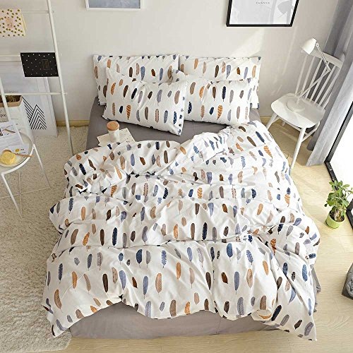 BuLuTu Feather Print Kids Duvet Cover Set Queen White Cotton,Premium Lightweight 3 Pieces Reversible Teen Boys Girls Bedding Sets Full Size Zipper Closure For Men Women,Soft,Breathable,NO (Contemporary Duvet Sets)