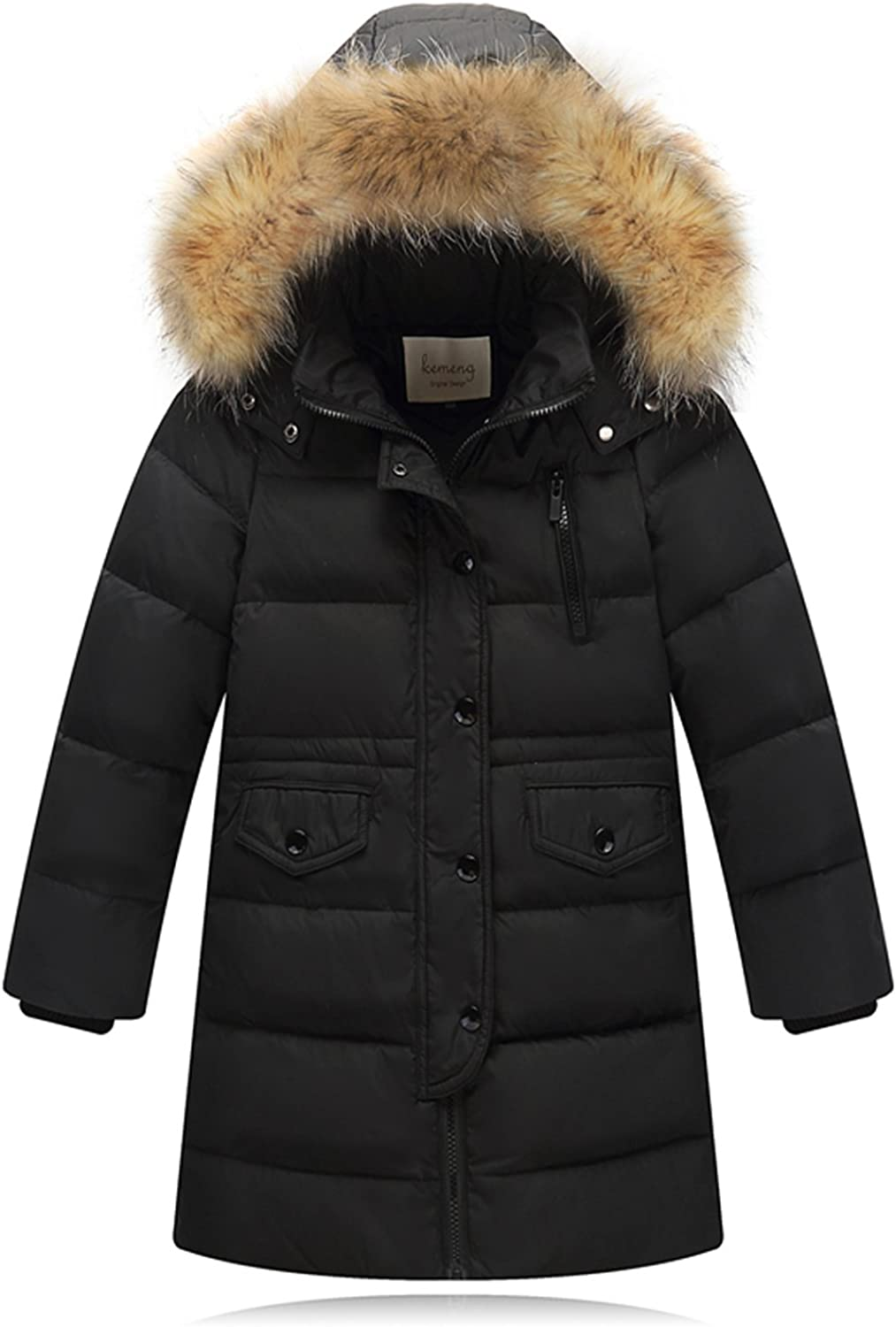 Winter Girls Kids Padded Quilted Warm Coat Jackets Puffer Fur Hooded Long Parka
