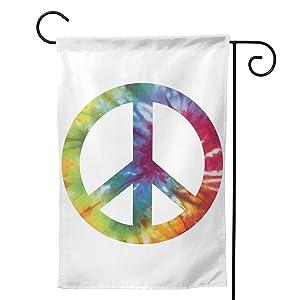Hejurvt Garden Flag Peace Sign Tie-Dye Spring Summer Seasonal Painting Art Garden Yard Flag 12.5