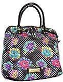 Betsey Johnson Women's Large Rainbow Carnation Tote Handbag, Black, Bags Central