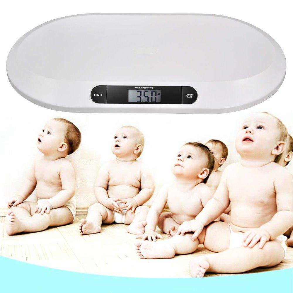 OUkANING Elektronische Babywaage mit LCD-Display mit Hintergrundbeleuchtung 3 Modi 20 kg