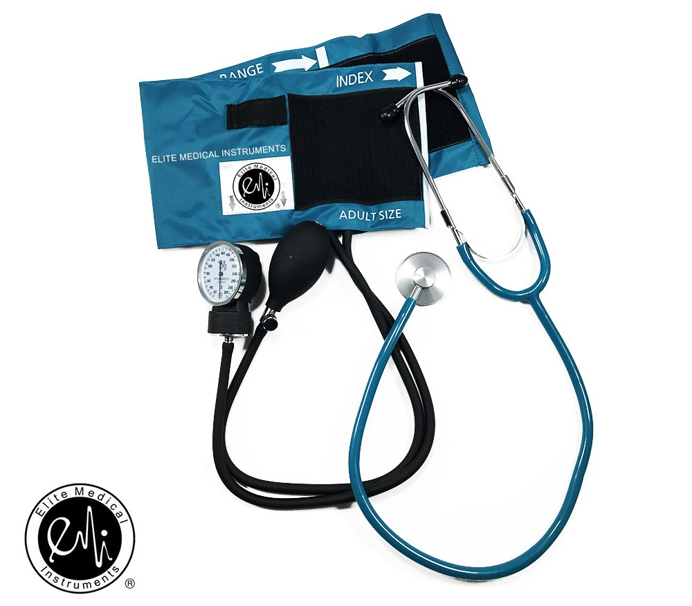 EMI TEAL # 300 Deluxe Aneroid Sphygmomanometer Blood Pressure Monitor Set with Adult Cuff and Carrying Case and Includes Basic Stethoscope