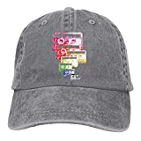 samsung dryers on sale - Richard Cassette Print Unisex Cotton Washed Denim Leisure Cap Hat Adjustable Ash