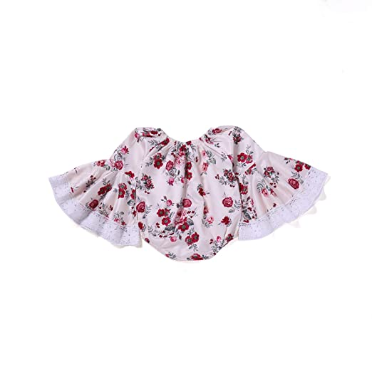 08edda13344 Newborn Baby Girl Floral Romper Flare Lace Sleeve Bodysuit Summer Jumpsuit  Clothes 0-24Months (