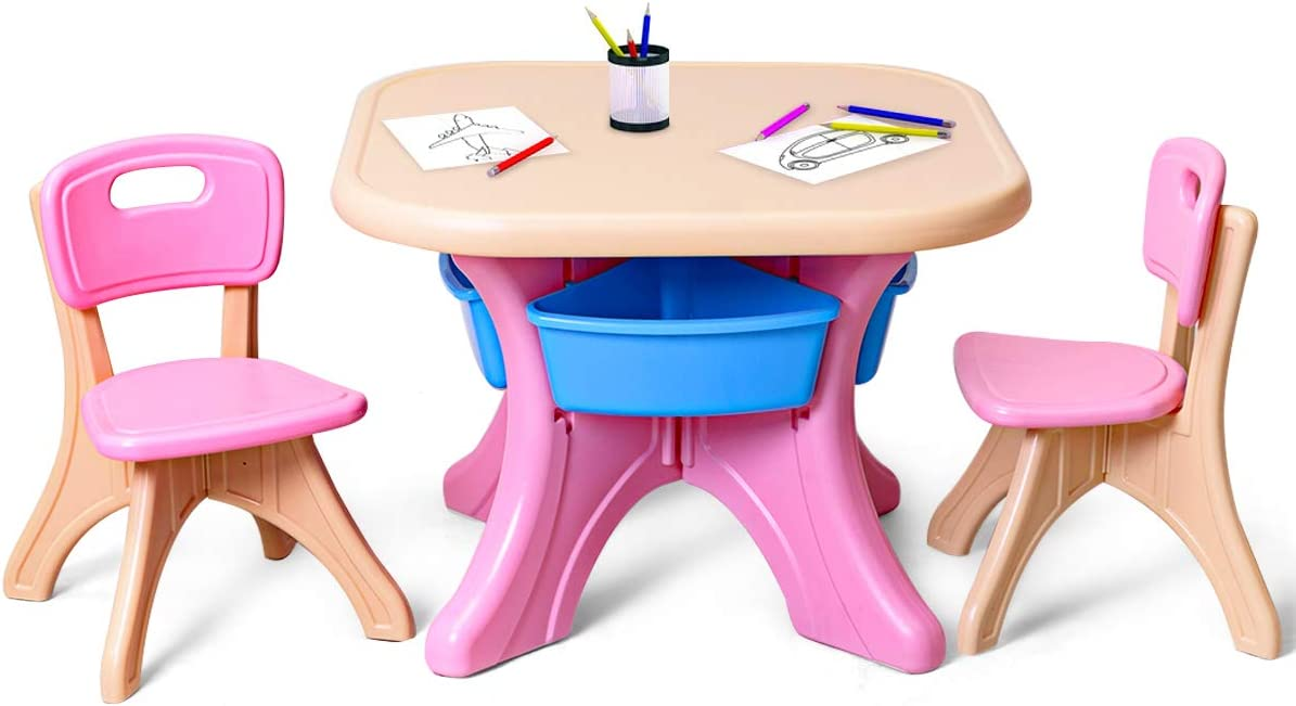 Costzon Kids Table and 2 Chair Set, Children Activity Art Table Set w/Detachable Storage Bins, Strong Bearing Capacity, Lightweight, Kiddie-Sized Plastic Furniture