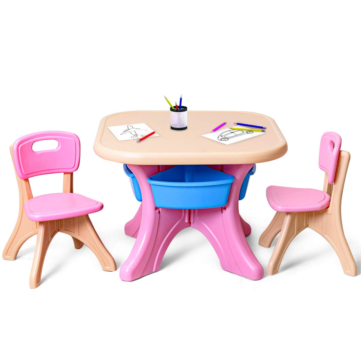 Costzon Kids Table and 2 Chair Set, Children Activity Art Table Set w/Detachable Storage Bins, Strong Bearing Capacity, Lightweight, Kiddie-Sized Plastic Furniture by Costzon