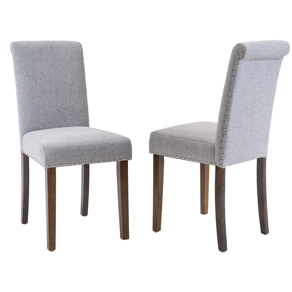 Merax PP033907EAA PP036421EAA tylish Dining Chairs with Nailhead Detail and Solid Wood Legs, Set of 2 (Slate Grey)