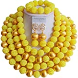 African NAfrican Nigerian Beads Women's 4 Rows Gold Plated Imitation Pearls Wedding Jewelry Setsigerian Beads Women's 10 Rows Gold Plated Bridal Wedding Jewelry Sets