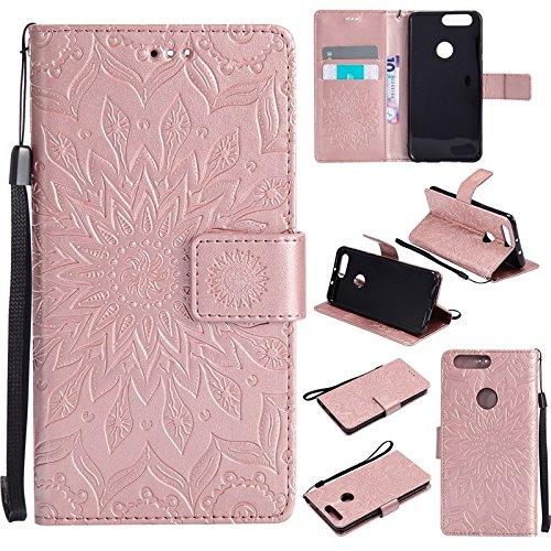 YAJIE-Carcasa Funda Para el caso de Huawei Honor 8, diseño de la impresión de la flor de Sun cuero de la PU tirón de la carpeta funda protectora con ranura para tarjeta / soporte ( Color : Pink ) Rose Gold