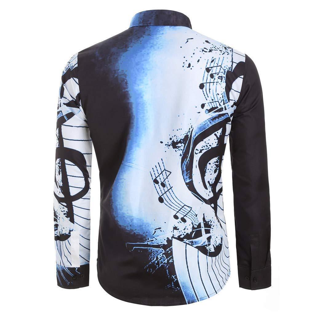 iZZZHH Mens Casual Musical Theme Print Shirt Long Sleeve Top Fashion Slim Fit Blouse