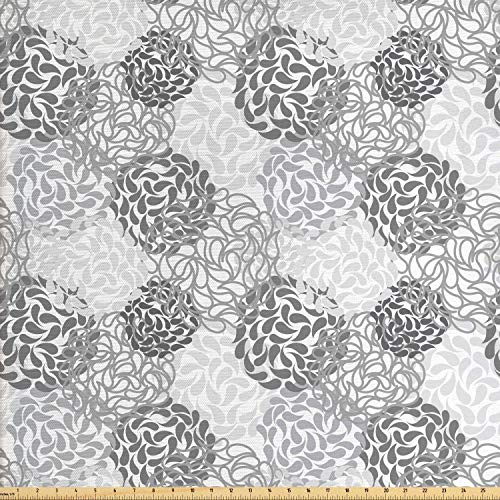 Lunarable Floral Fabric by The Yard, Mixed Florets Pattern Abstract Buds Flourishing Blooms Artistic Design, Decorative Fabric for Upholstery and Home Accents, 1 Yard, Charcoal Grey White