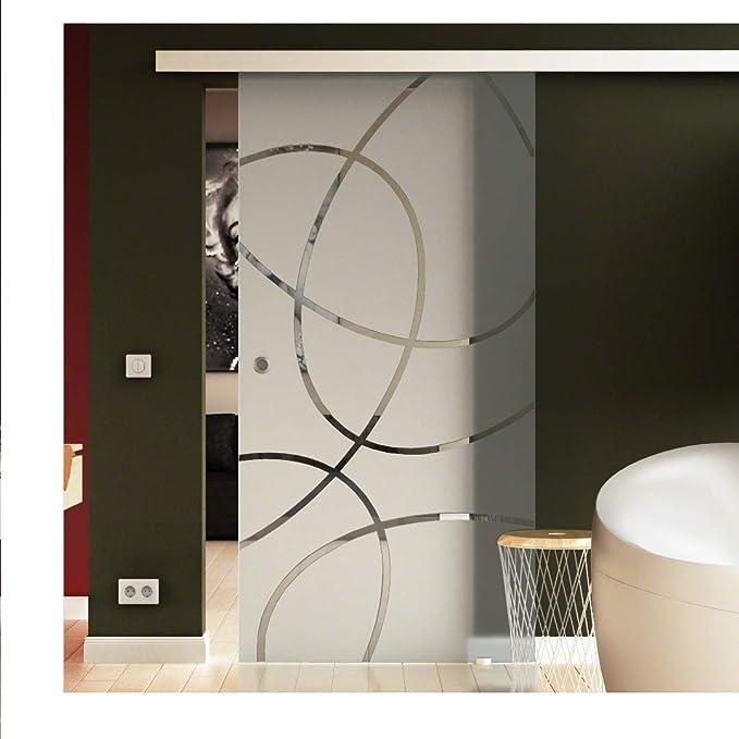 Puerta Corredera de Cristal 90 X 205 cm en leche de vidrio cristal con Elipses de Dessin Frankfurt (R) levidor® Easyslide Sistema de Completo. Carril de caracola y asas, Puerta corredera de