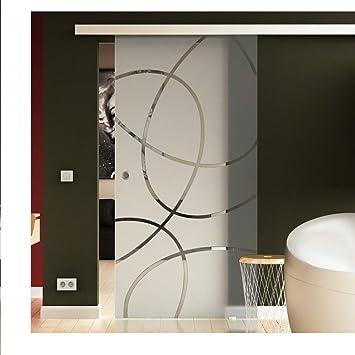 Puerta Corredera de Cristal 90 X 205 cm en leche de vidrio cristal con Elipses de