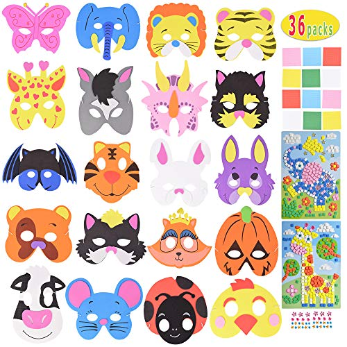 Max Fun 36 Pcs Assorted Foam Animal Purim Masks & 405 pcs Puzzles for Kids Party Favors (Foam Animal Masks)
