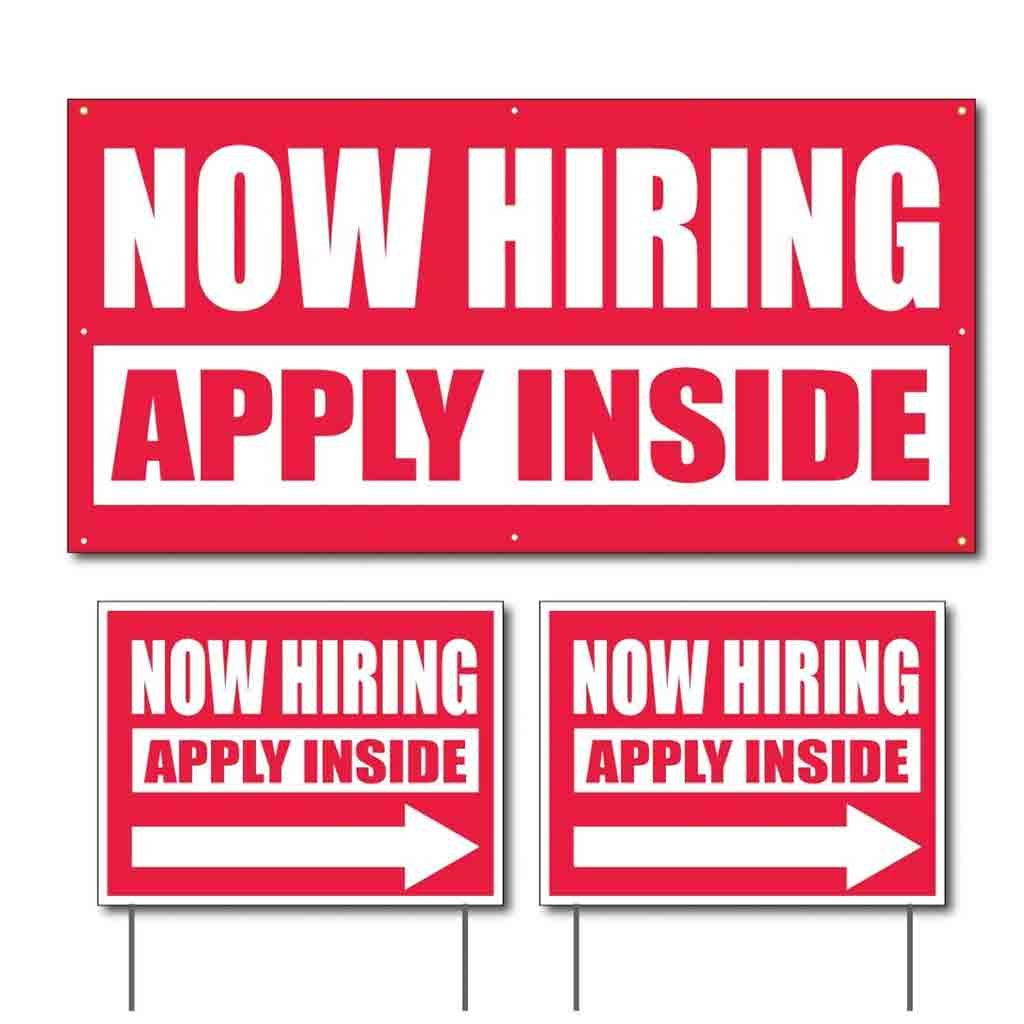 VictoryStore Banner and Outdoor Signs, NOW HIRING APPLY INSIDE Banner and 2 Sign Set