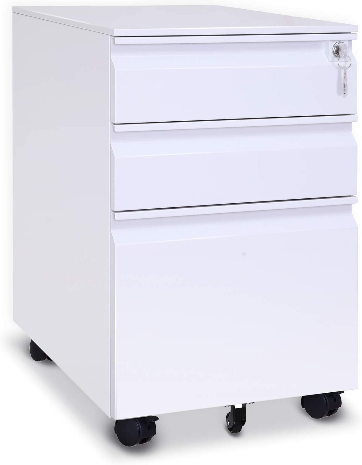 """File Cabinet 3-Drawer 23.6"""" Deep on Wheels Mobile Storage Cabinet for Home and Office with Key Lock and 5 Casters Metal Filing Cabinet for Any Legal and Letter File Size,Fully Assembled (White)"""