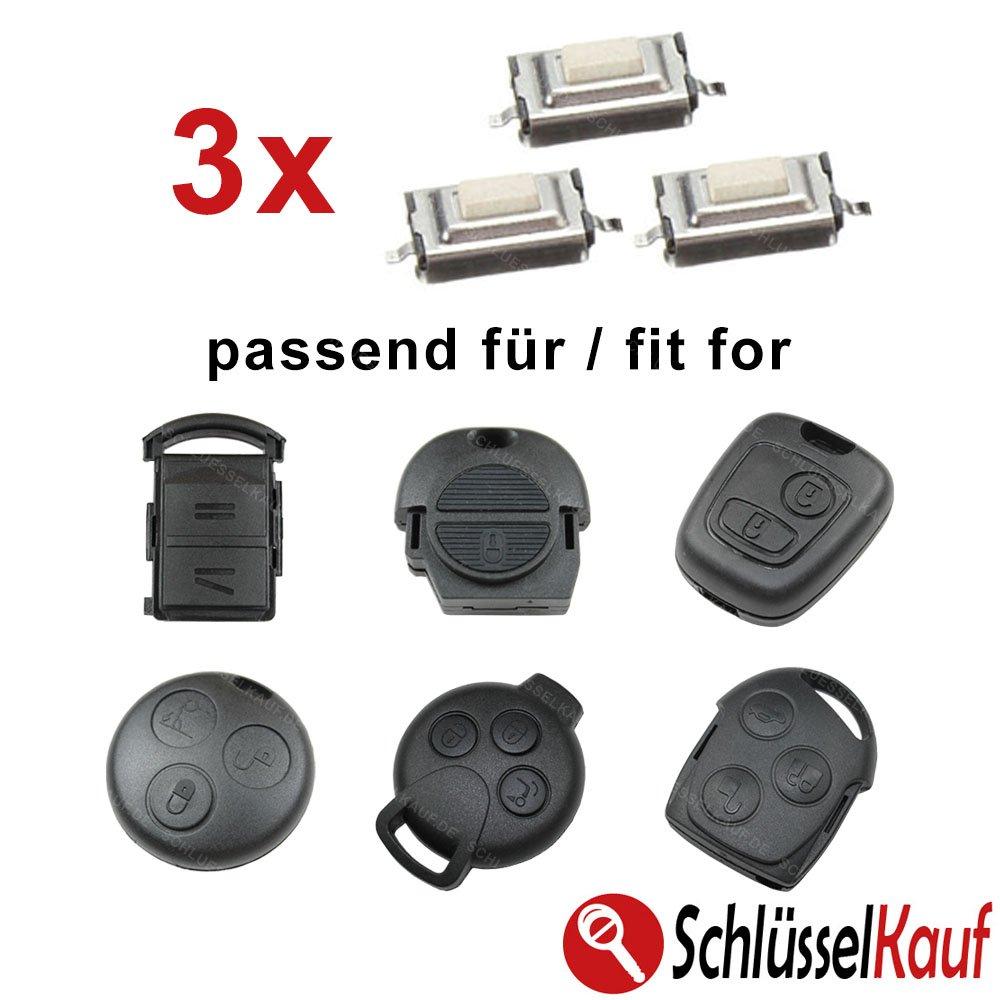 3/x mikrotaster Micro SMD pulsador Llave de Coche Mercedes Nissan Opel Peugeot Smart