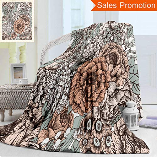 (Opposo Unique Custom Warm 3D Print Flannel Blanket Seamless Floral Pattern Peony Flowers Primrose Lilac Vintage Wallpaper Gentle Cozy Plush Supersoft Blankets for Couch Bed, Throw Blanket 50