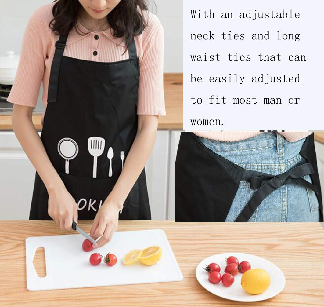 Leeotia Water Resistant and Oil-Proof Cooking or Baking Apron with 2 Pockets Great Gifts for Both Women and Man-Black