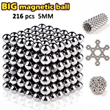 Magnetic Fidget Toy Balls with 216 Pcs DIY Building Puzzle Ball Stress Relief Magic Iron Cube for Anxiety Stress Magnetic Blocks Sculpture Toys for Kids Adults Desk Decoration Bright Silver