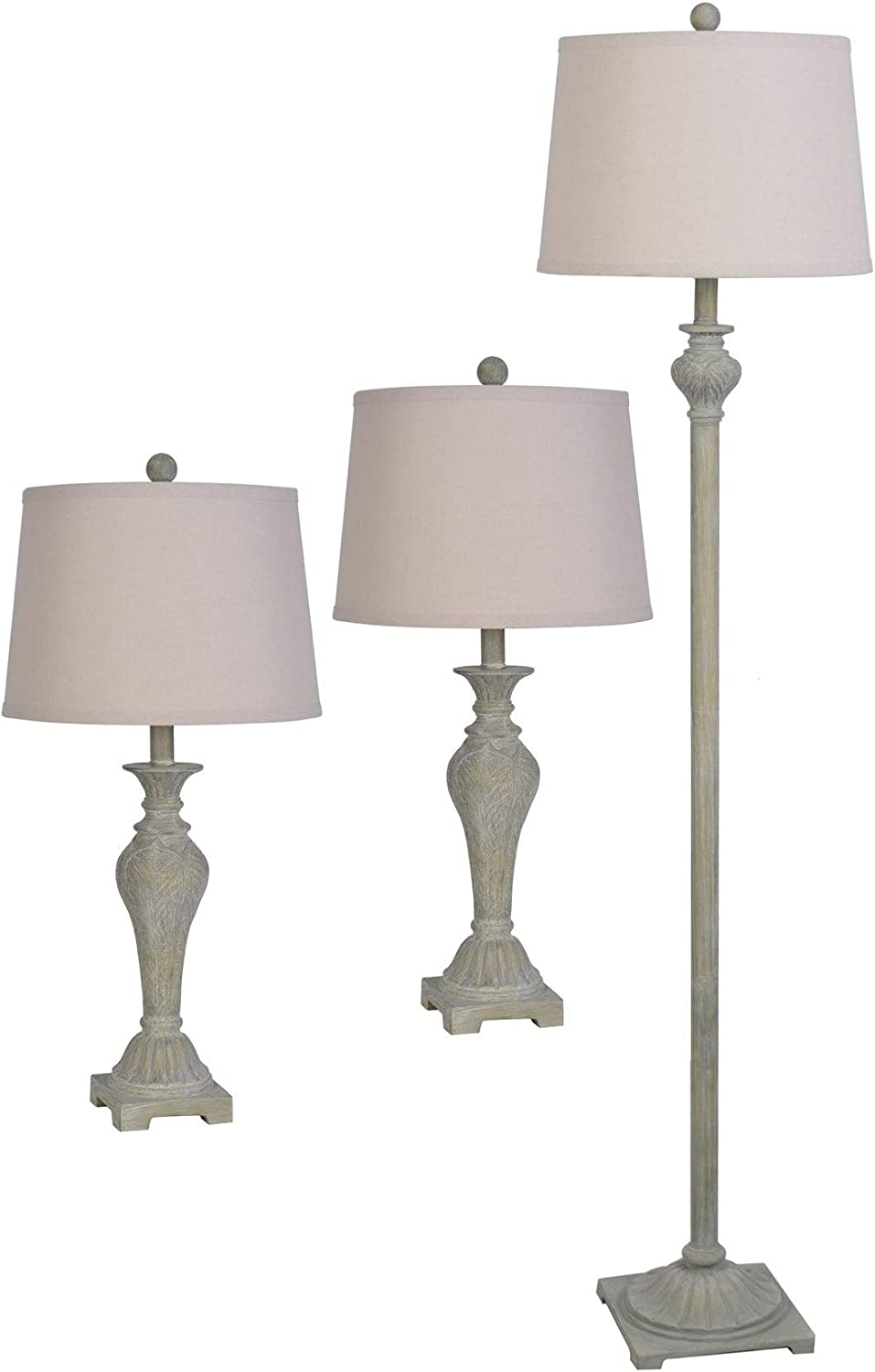 3 Piece Set Lamps Per Se Rusted Gold and Grey Lamp Set N//a Nautical Coastal Traditional Transitional