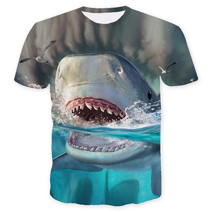 Impreso Unisex Tiburón Verano Corta Hombre Gran De Manga 3d Camiseta 6gvf7yYb