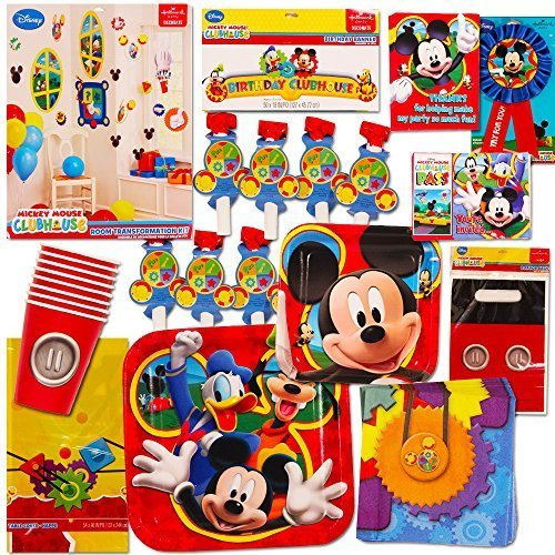 Mickey Mouse Party Invitations - Mickey Mouse Party Supplies Ultimate Set (95 Pieces) -- Party Favors, Birthday Party Decorations, Plates, Cups, Napkins, Table Cover and More!