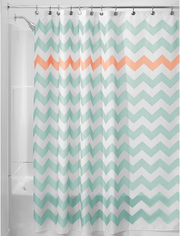 iDesign Fabric Chevron Shower Curtain for Master, Guest, Kids', College Dorm Bathroom, 72
