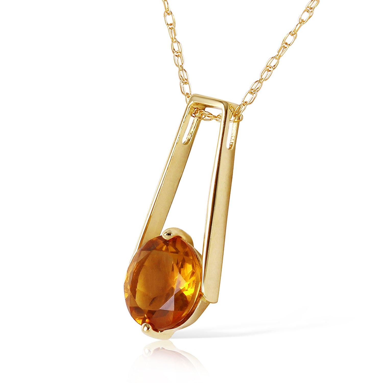 ALARRI 1.45 Carat 14K Solid Gold Privacy Citrine Necklace with 20 Inch Chain Length