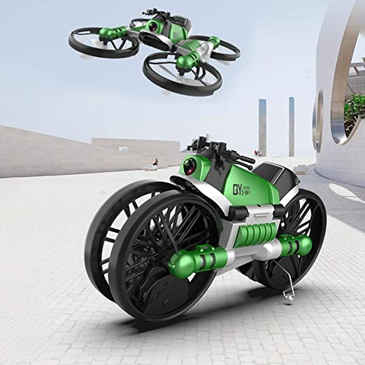 YEIBOBO 2-in-1 Transforming Motorcycle and 2.4G RC Quadcopter Drone with 300,000 Pixel HD Camera Green