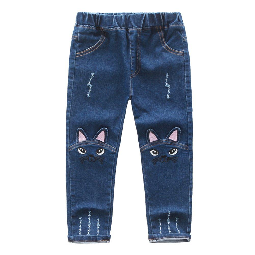 Filles Mode Jeans - Mignon de Dessinée Motif Enfants Pantalon Printemps Automne Casual Elastique Trouses Mode Skinny Denim Jeans pour Bébé Fille Bleu D171213MY4-J