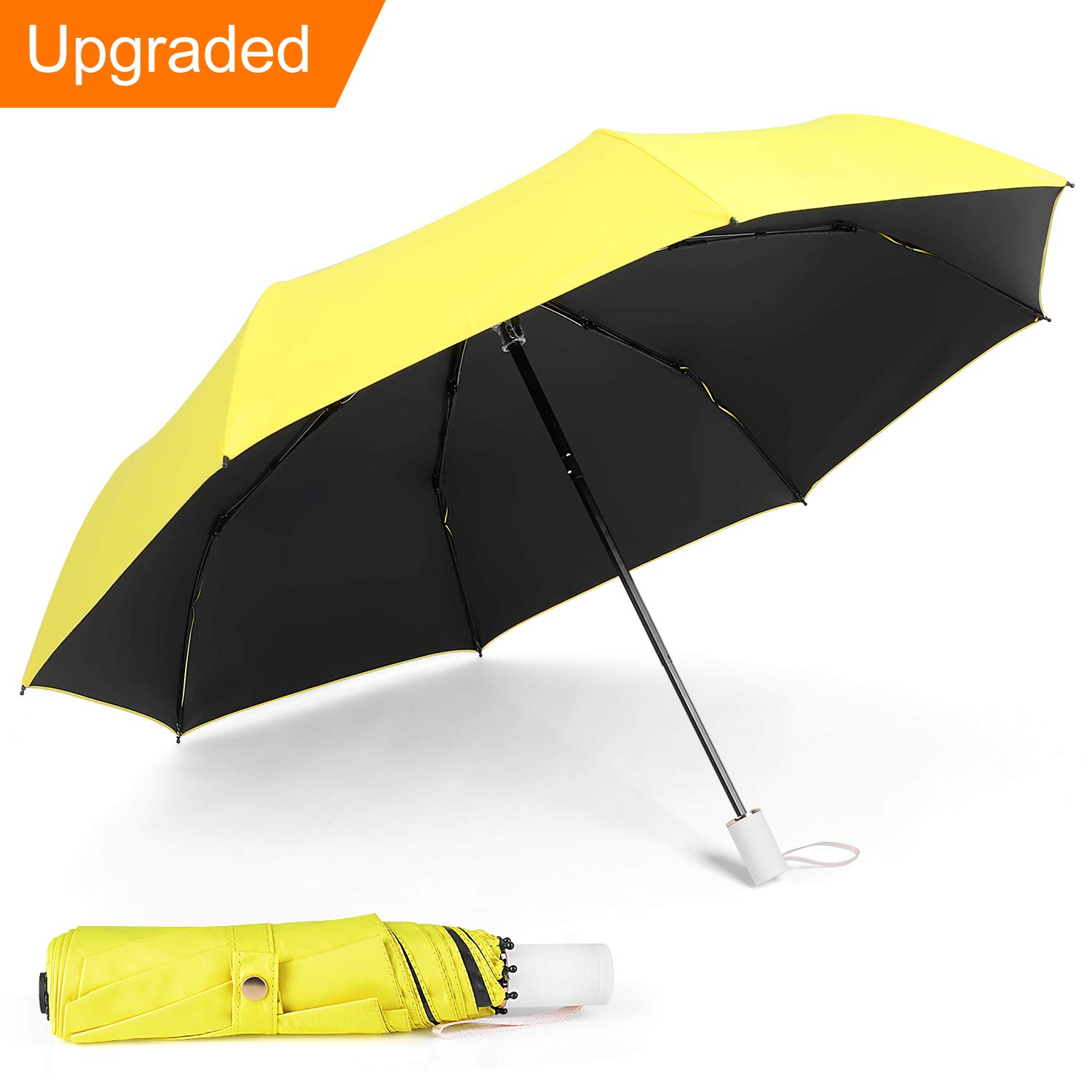 IEOKE Compact Umbrella, Travel Umbrella Windproof Automatic Umbrella With Sleeve Auto Open/Close Foldable Lightweight for easy carry -10 Ribs(Black)