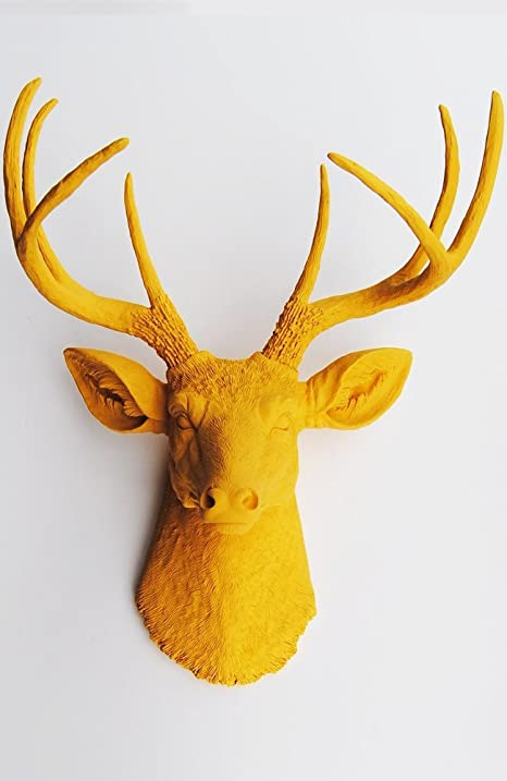 luxury ideas fake deer. The Victoria  Resin Deer Head Mustard Yellow Wall Decor Stag Amazon com