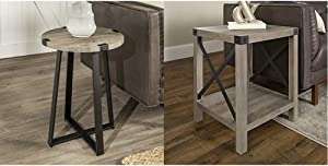 WE Furniture Rustic Farmhouse Round Metal Side End Accent Table Living Room, 18 Inch, Grey & Rustic Modern Farmhouse Metal and Wood Square Side Accent Living Room Small End Table, 18 Inch, Grey Wash