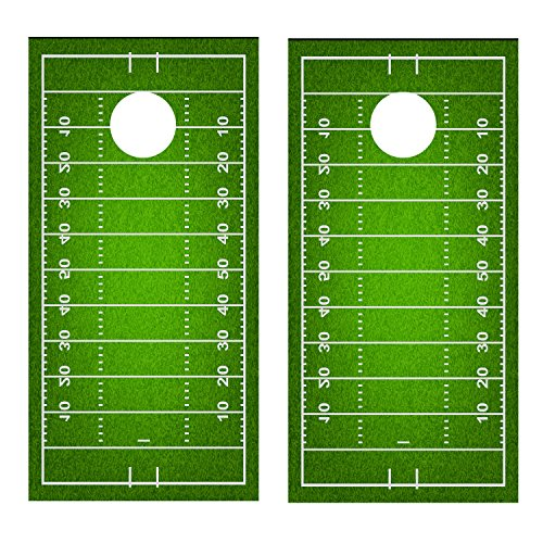 Football Field CORNHOLE DECAL WRAP SET Decals Board Boards Vinyl Sticker Stickers Bean Bag Game Wraps Vinyl Graphic Image Corn Hole (non-laminated)
