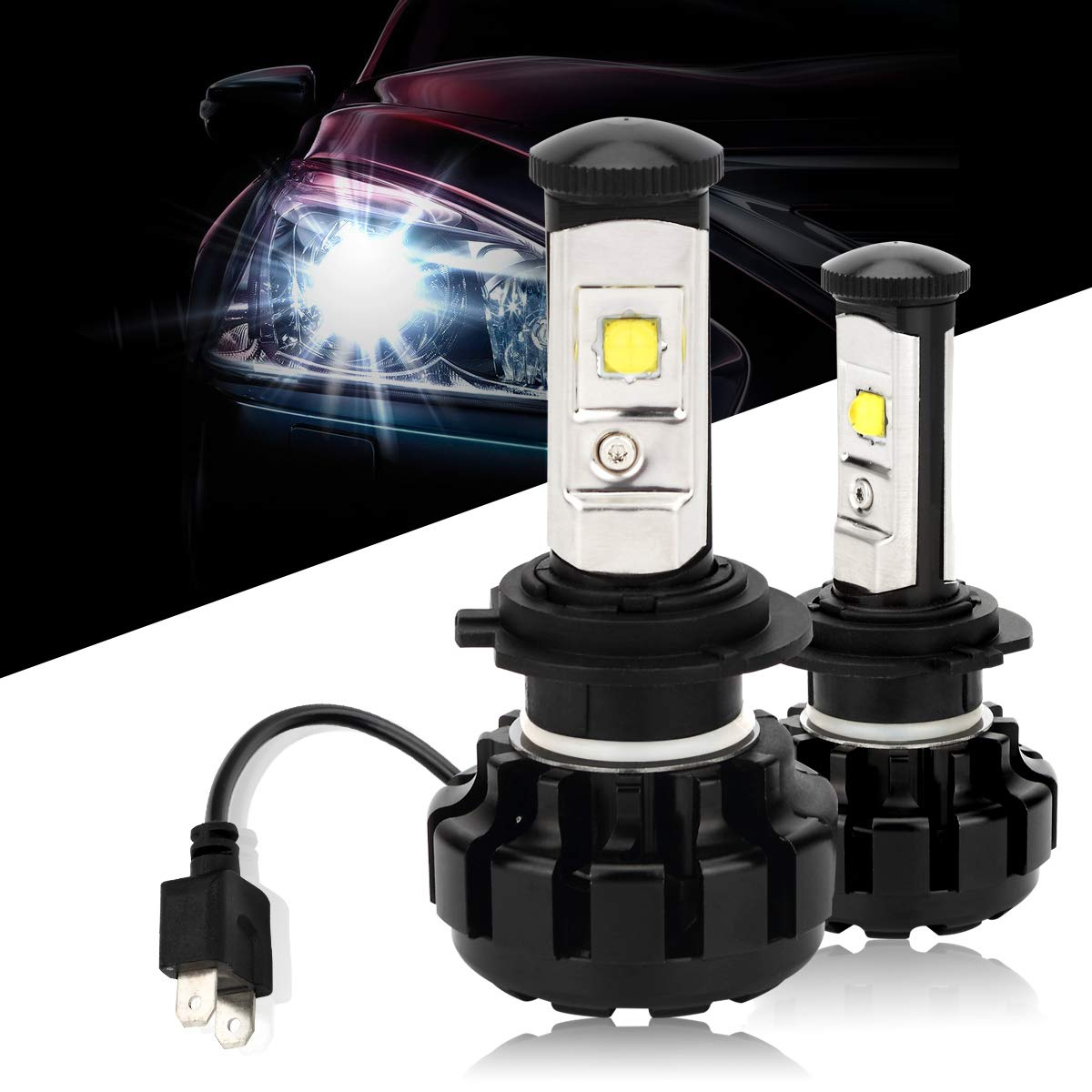 Amazon.com: Green-L 9600 Lumens Extremely Bright High Power H7 All-in-One LED Headlight Bulbs Conversion Kit, 6000K Cool White: Automotive