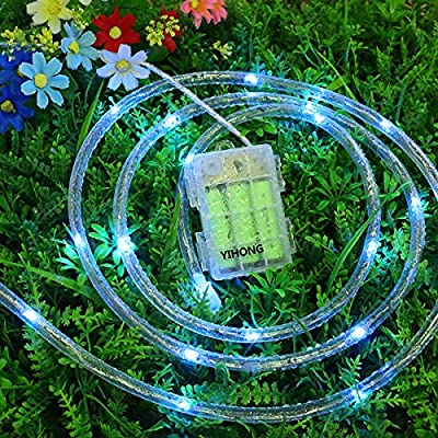 YIHONG RGB Rope Lights Waterproof 16.5 Feet Fairy Lights Color Changing LED String Lights Battery Operated Firefly Lights with Remote Control for Bedroom Garden Halloween Christmas New Year Decoration