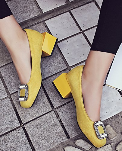 Aisun Court Yellow Classic Shoes Women's Mid Faux Suede Chunky Heels rq0nrzFpxw