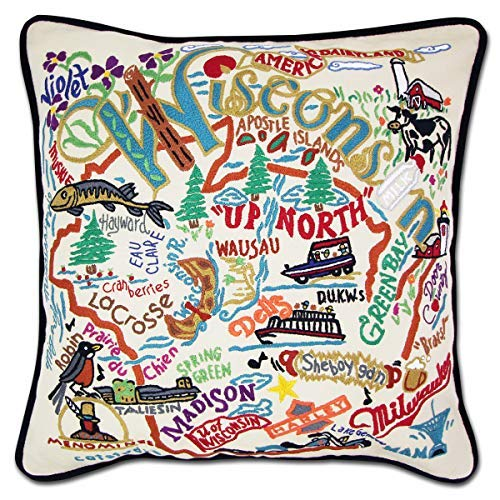 Catstudio | Wisconsin Throw Pillow | Hand-Embroidered | 20