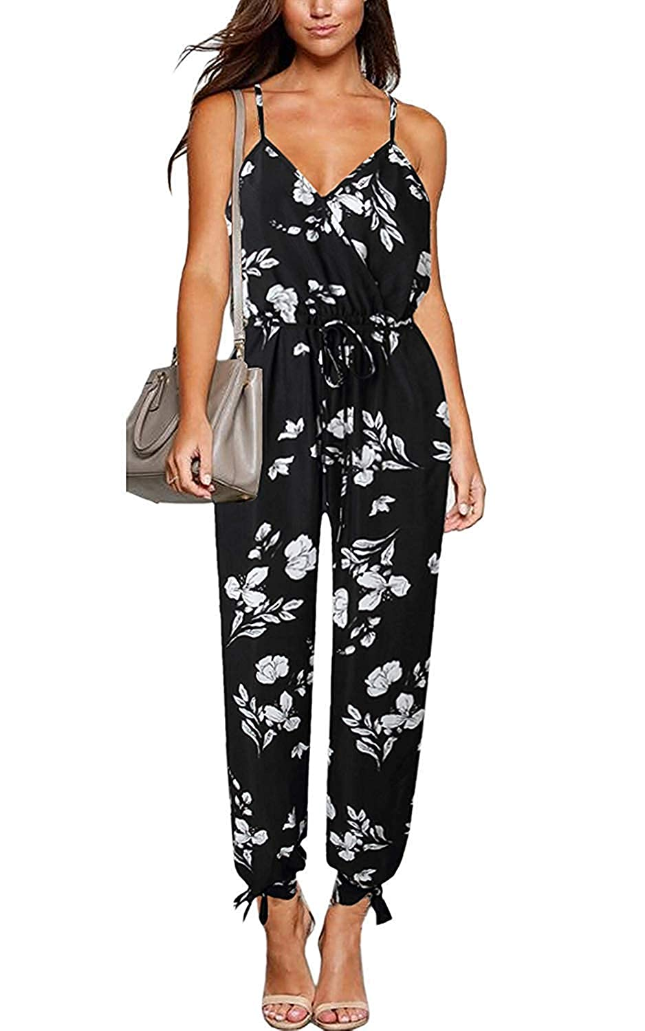 Women Wide Leg Jumpsuits - Summer Spaghetti Strap Floral Vacation Beach  Drawstring Pants Rompers