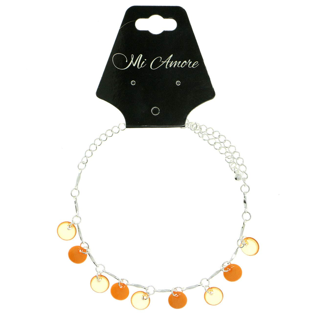 Mi Amore Silver-Tone Ankle Bracelet With Orange Disc Shaped Charm Accents AN1464A-ORNG