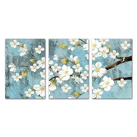 Flor azul Vintage pintura botánica estilo americano lienzo ...